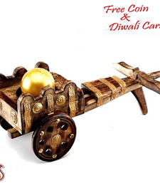 Buy Wooden rajwada bagghi with golden ball candle candle online