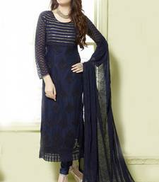 Buy Navy Blue georgette embroidered semi stitiched salwar with dupatta pakistani-salwar-kameez online