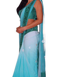 Buy Sky blue net saree with unstitched blouse (bwd929) katrina-kaif-saree online