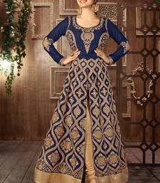 Buy Navy blue georgette embroidered semi stitched salwar with dupatta indian-dress online