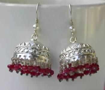 Sterling silver Rubies Garhwali jhumka