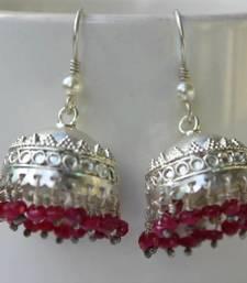 Sterling silver Rubies Garhwali jhumka shop online