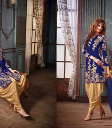 Buy Blue silk embroidered semi stitiched salwar with dupatta salwars-and-churidar online
