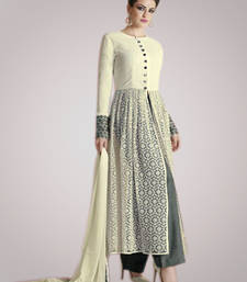 Buy Cream net embroidered semi stitiched salwar with dupatta salwars-and-churidar online