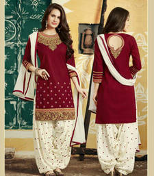 Buy Maroon and off white cotton embroidered semi stitched salwar with dupatta punjabi-suit online
