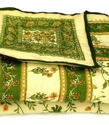 Buy Green jaipuri hand made gold print singal bed quilts quilt online
