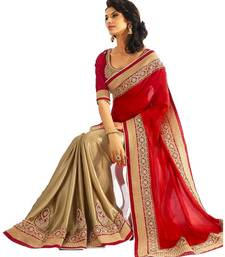 Red embroidered faux georgette saree with blouse shop online