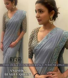 Buy Grey embroidered georgette saree with blouse deepika-padukone-saree online