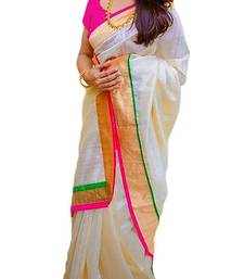 Buy White printed art silk saree with blouse art-silk-saree online