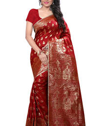 Buy Red printed banarasi saree with blouse banarasi-saree online
