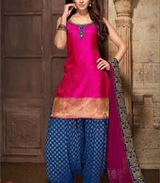 Buy Pink Taffeta printed unstitched salwar with dupatta punjabi-suit online