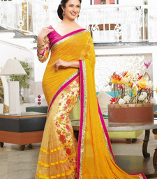 Buy Yellow printed faux chiffon saree with blouse chiffon-saree online