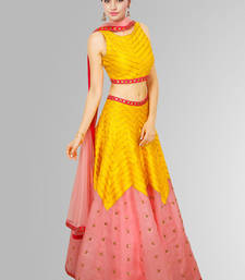 Buy Yellow banglori silk digital printed unstitched lehenga choli navratri-lehenga-chaniya-choli online