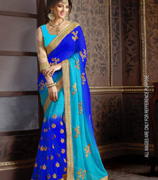 Buy Blue embroidered faux georgette saree with blouse eid-saree online