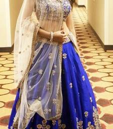 Blue embroidered banglori silk unstitched lehenga choli shop online