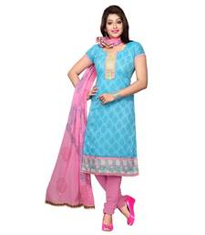 Buy Blue embroidered chanderi unstitched salwar with dupatta salwars-and-churidar online