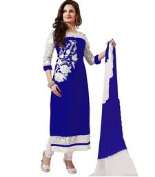 Buy Blue georgette embroidered semi stitched salwar with dupatta cotton-salwar-kameez online