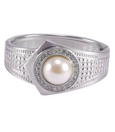 Buy Pearl and cubic zircon 925 silver plated cuff bracelet gemstone-bracelet online