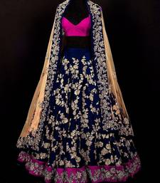 Buy Blue embroidered banglori silk unstitched ghagra choli ghagra-choli online