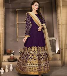 Buy Purple silk embroidered semi stitched salwar with dupatta anarkali-salwar-kameez online