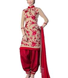 Buy Cream and red poly cotton printed unstitched salwar with dupatta cotton-salwar-kameez online