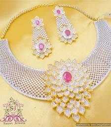 Buy Fine Making Ruby Diamond Look Necklace Set  Necklace online