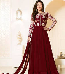 Buy maroon georgette embroidered semi stitiched salwar with dupatta pakistani-salwar-kameez online