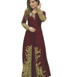 Buy Maroon banglori embroidery semi stitiched salwar with dupatta salwar-kameez-below-2000 online