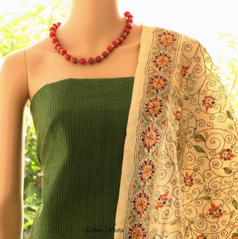 Buy green and kantha embroidery online