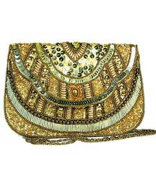 Buy Golden Embroidered Clutch clutch online