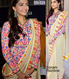 Buy Beige embroidered banarasi saree with blouse sonam-kapoor-saree online
