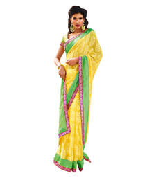Buy Vishal Yellow Georgette Saree  TheCourtYard31521 georgette-saree online