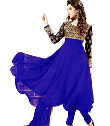 Buy Blue georgette embroidered semi stitched salwar with dupatta eid-special-salwar-kameez online