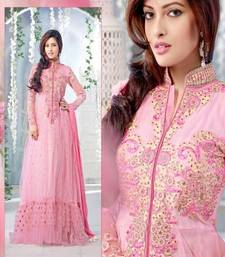 Buy Pink georgette embroidered semi stitched salwar with dupatta anarkali-salwar-kameez online