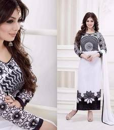 Buy White georgette embroidered semi stitched salwar with dupatta ayesha-takia-salwar-kameez online