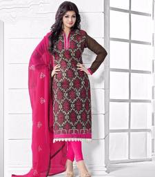 Buy Black chanderi embroidered semi stitched salwar with dupatta ayesha-takia-salwar-kameez online