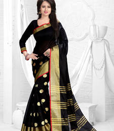 Buy Black printed dupion saree with blouse dupion-saree online