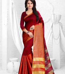 Buy Maroon printed dupion saree with blouse dupion-saree online