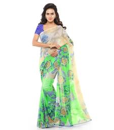 Buy Green printed faux georgette saree with blouse below-300 online