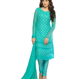 Buy Light blue georgette embroidered semi stitiched salwar with dupatta pakistani-salwar-kameez online