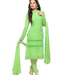 Buy Parrot georgette embroidered semi stitiched salwar with dupatta pakistani-salwar-kameez online