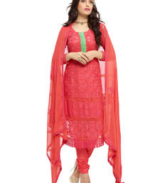 Buy Red georgette embroidered semi stitiched salwar with dupatta eid-special-salwar-kameez online