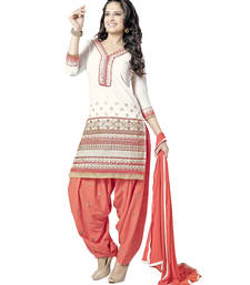 Buy White&orange cotton embroidered semi stitched salwar with dupatta punjabi-suit online