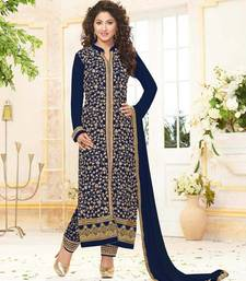 Buy Styles Closet Blue embroidered georgette semi stitched salwar with dupatta pakistani-salwar-kameez online