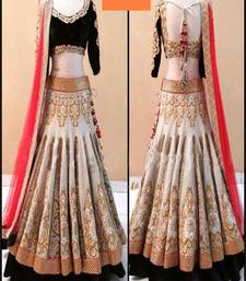 Buy White jacquard and russell net embroidered unstitched lehenga choli navratri-lehenga-chaniya-choli online