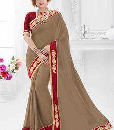 Buy Beige embroidered chiffon saree with blouse karwa-chauth-saree online