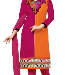 Buy Orange and pink embroidered cotton unstitched salwar with dupatta ayesha-takia-salwar-kameez online