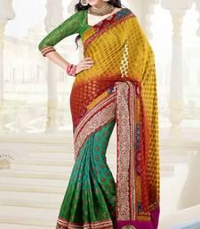 Buy Designer saree  Light Mustard, Red And Green Viscose .. viscose-saree online