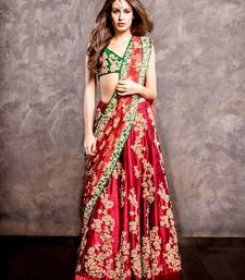 Buy Red embroidered raw silk unstitched ghagra choli ghagra-choli online