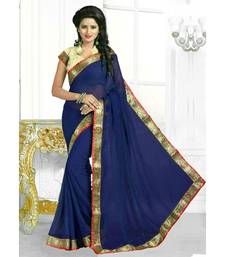 Buy 	Blue Georgette  saree with blouse ayesha-takia-saree online
